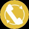Telefonhoerer auf farbiger runder Fläche